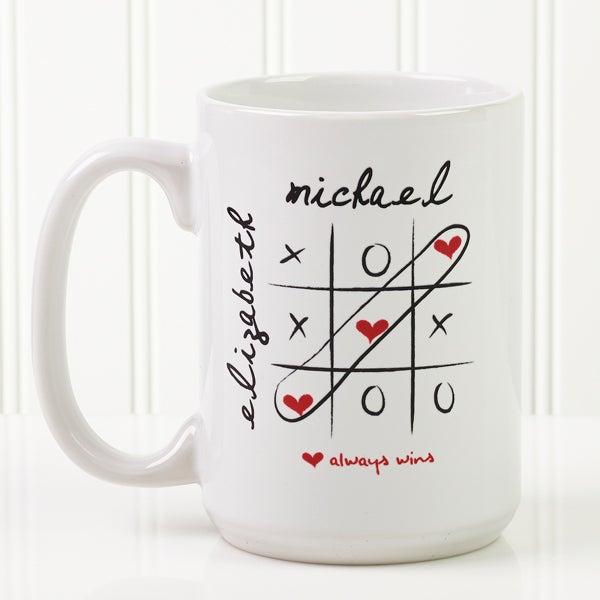 Personalized Heart Coffee Mug - Love Always Wins - 9571