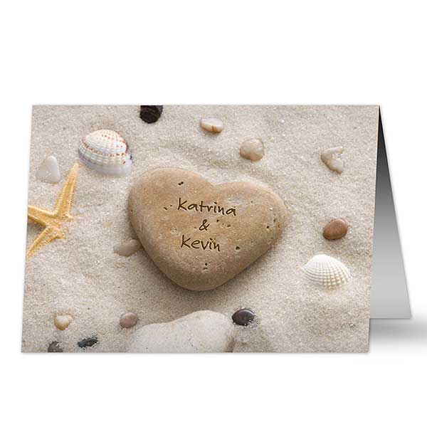 Personalized Romantic Greeting Cards - Heart Rock - 9682