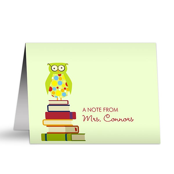 Personalized Teacher Note Cards - Wise Owl - 9918