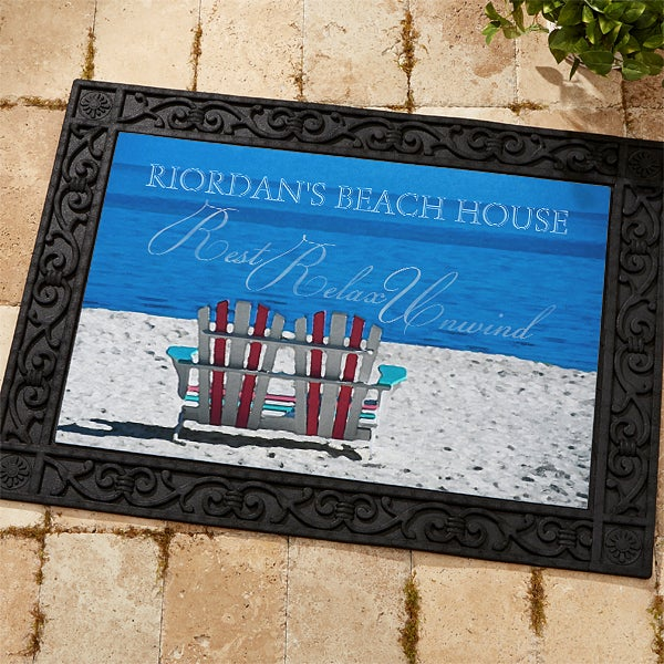 8d26695aa58 Custom Personalized Beach Door Mat With Rubber Back - For The Home