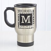 Personalized Travel Mug - Stainless Steel Mug Name Design - 6039