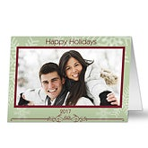 Snowflake Greetings Personalized Photo Christmas Cards - 6058