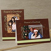 Contemporary Personalized Photo Christmas Cards - Vertical