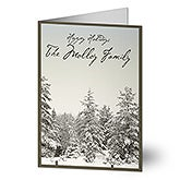 Personalized Snowy Pine Tree Holiday Greeting Cards