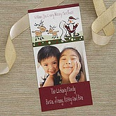 Santa & Reindeer Personalized Photo Christmas Card Postcards - 6139