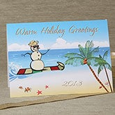 Tropical Snowman Personalized Christmas Cards - 6144