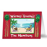 Personalized Tropical Beach & Palm Tree Christmas Cards - 6155