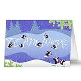 Penguin Teamwork Personalized Corporate Christmas Cards