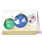 Personalized Globe Ornament Business Christmas Cards