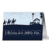 Personalized Away In A Manger Nativity Christmas Cards