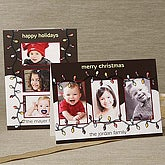 Christmas Lights Personalized Photo Christmas Cards - Horizontal