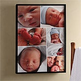 Personalized Baby Photo Canvas Collage with Frame