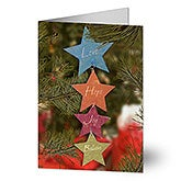 Love, Hope, Joy, Believe Personalized Star Christmas Cards