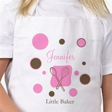 Lil Baker Personalized Kids Apron with Polka Dots - 6333