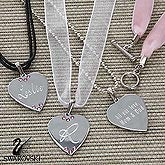 Engraved Silver Heart Necklace Set with Swarovski Crystals - 6345
