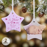 Personalized Baby Photo Star Christmas Ornament - 6354