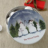 Snowman Family Personalized Holiday Gift Tin - 6366