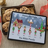 Family Character Personalized Holiday Cookie Tin - 6367