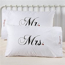 Personalized Pillowcase Set - Mr and Mrs Wedding Collection - 6407