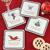 Seasons Greetings Personalized Christmas Coasters - 6427