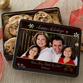 Happy Holidays Personalized Photo Cookie Tin - 6440