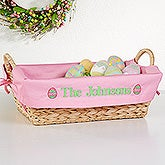 Personalized Egg Wicker Basket with Easter Egg Design - 6458