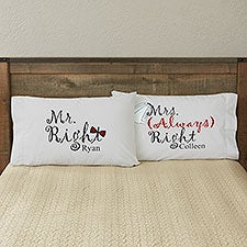 Mr & Mrs Right Personalized Wedding Pillowcases - 6466