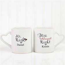 Mr and Mrs Right Personalized Wedding Coffee Mug Set - 6467