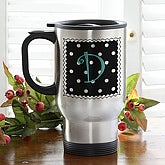 Women's Stainless Steel Personalized Travel Mug - Dot to Dot - 6491