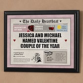 Valentine's Day Romantic Message Newspaper Page Plaque - 6506