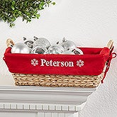 Personalized Holiday Wicker Basket - Red - 6509