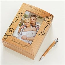 I Love You Engraved Wood Photo Memory Box - 6516
