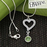 Rhinestone Heart Swarovski Crystal Birthstone Necklace - 6525D