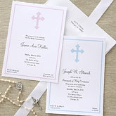 Holy Cross Personalized First Communion Invitiations - 6624