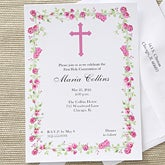 Girl's Personalized First Holy Communion Invitations - Floral Design - 6629