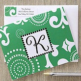 Custom Printed Note Cards - Green with Initial Monogram - 6638