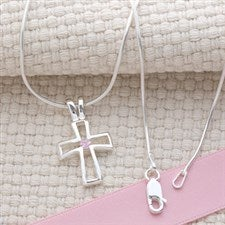 Sterling Silver Cross Necklace with Swarovski Birthstone - 6646D