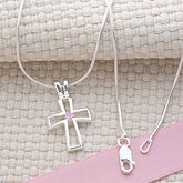 Swarovski Birthstone Silver Cross Necklace - 14 Chain