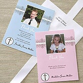 Boy's First Communion Personalized Photo Thank You Cards