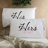 Personalized Pillowcases - His & Hers Pillowcase Set - 6724