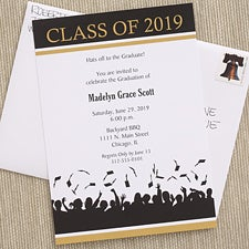 Personalized Graduation Party Invitiations - Hats Are Off - 6773