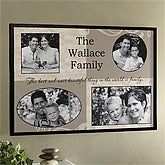 Personalized Message Family Photo Collage Canvas Print with 4 Pictures
