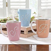 Blue Personalized Coffee Mugs for Women - Rhinestone Intitial