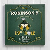 19th Hole Personalized Canvas Golf Pub Sign Wall Art - 7043