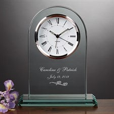 Personalized Glass Wedding Clock - Everlasting Love Design - 7047