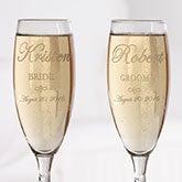 Engraved Crystal Champagne Flutes - Bride and Groom Design - 7095