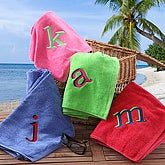 Embroidered Initial Personalized Beach Towels - Red
