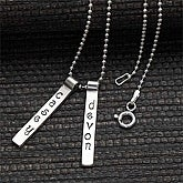 Stamped Name Bar Personalized Pendant Necklace - 7132D