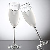 Bride & Groom Swarovski Champaign Flute Set - Tuxedo & Wedding Dress - 7147