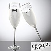 Bride & Groom Swarovski Champaign Flute Set - Tuxedo & Wedding Dress - 7147